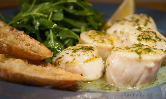 Scallops Alla Veneziana with Parmesan Toasts - Scallops sauteed in a light sauce of vermouth, herbs and lemon.