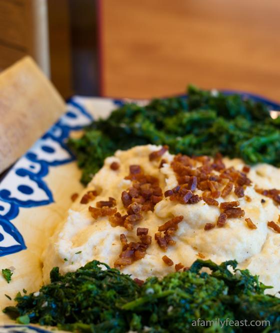 Creamy Polenta with Pancetta & Broccoli Rabe