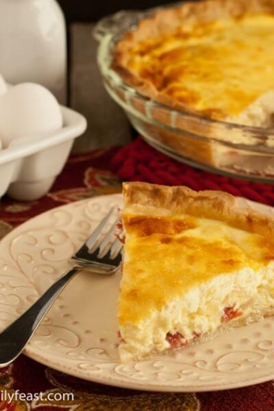 Salami & Cheddar Quiche - A Family Feast