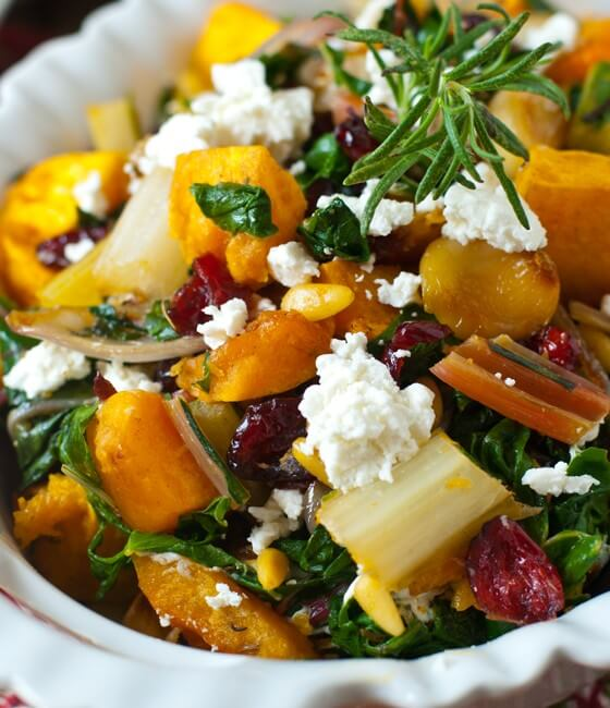 Roasted Butternut Squash and Swiss Chard