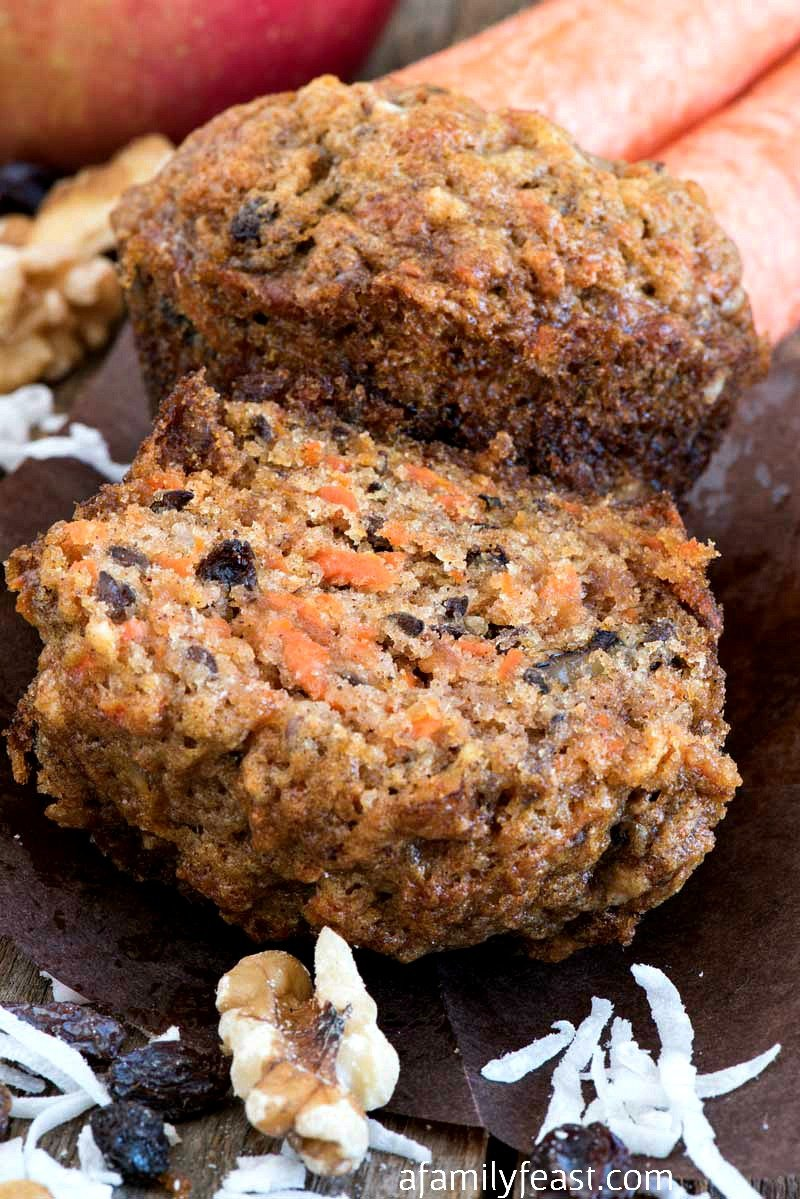Easy Morning Glory Muffins are made from carrots, apple, coconut, nuts and cinnamon. So moist and delicious!