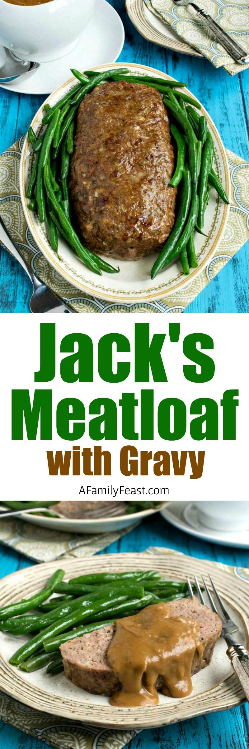 My husband Jack's Meatloaf with Gravy - An easy recipe for moist, delicious meatloaf with gravy. A comfort food classic!