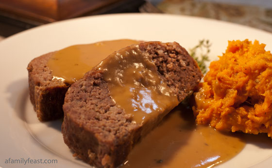 A classic recipe for moist, delicious meatloaf with gravy. A comfort food classic.