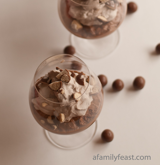 A light and airy Chocolate Malted Mousse topped with lightly sweetened cocoa whipped cream.  Incredible!