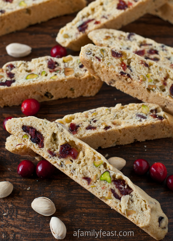 Cranberry Pistachio Biscotti - The perfect holiday biscotti recipe with dried cranberries and pistachios in a sweet vanilla-almond cookie.