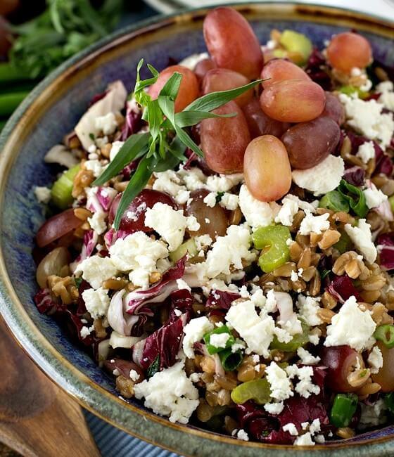 Farro Salad with Grapes, Goat Cheese and Tarragon Vinaigrette