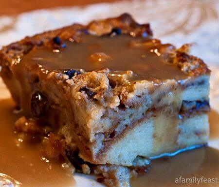 Cinnamon Roll Bread Pudding with Bourbon Sauce - A Family Feast