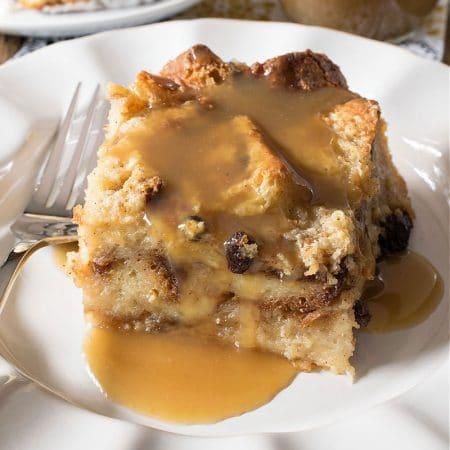 Cinnamon Roll Bread Pudding with Bourbon Sauce
