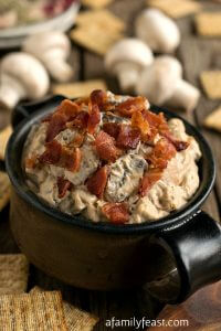 Warm Mushroom Bacon Dip - A Family Feast