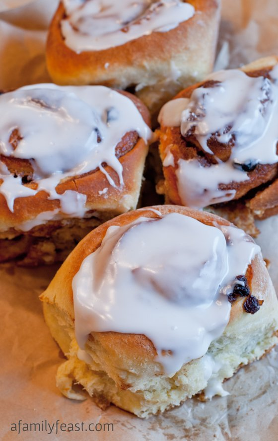 Cinnamon Rolls with Bourbon-Soaked Raisins - A Family Feast