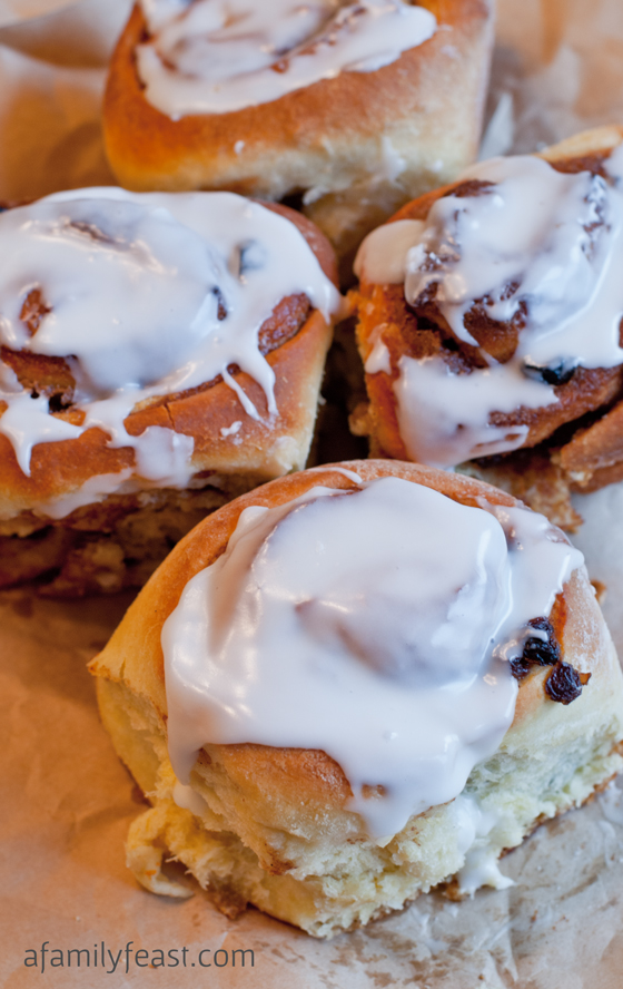 Cinnamon Rolls with Bourbon-Soaked Raisins - A super delicious option for a special holiday breakfast!