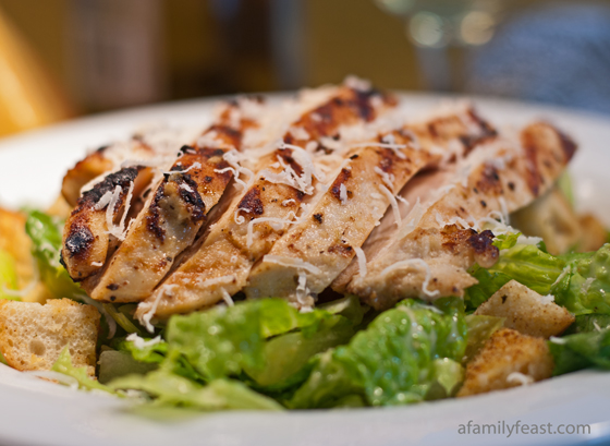 Caesar Salad with grilled Caesar Chicken - Our secret recipe for the most delicious and moist grilled Caesar chicken salad.
