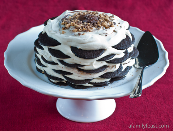 Chocolate Nutella Toffee Icebox Cake - An amped up version of the classic Chocolate Wafer Icebox Cake made with Nutella, Toffee candy bits and whipped cream.