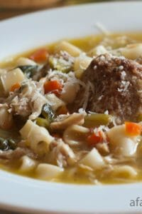Italian Chicken Soup with Meatballs and Escarole - A Family Feast