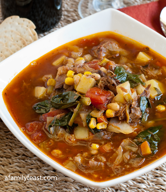 A Hearty Beef Vegetable Soup recipe - part of our Beef Soup Series at A Family Feast