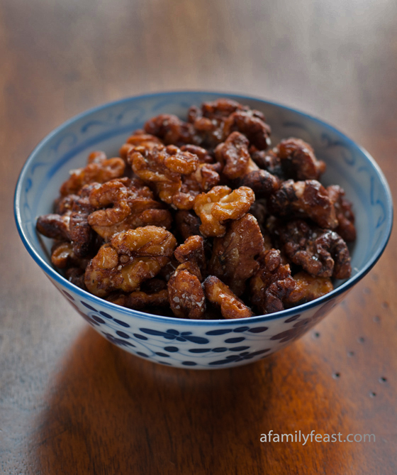 Chinese Fried Walnuts - Delicious salty-sweet fried walnuts recipe originally developed by Mildred Yang in the 1970's and published in The Good Housekeeping Cookbook.