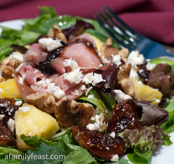 Glazed Fig Salad with Prosciutto and Feta Cheese - A Family Feast