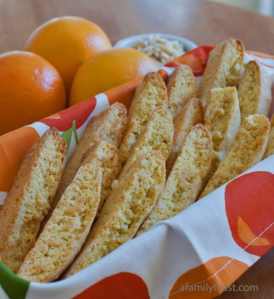 Orange Almond Biscotti - Another great recipe from our honeymoon in Italy! A Family Feast