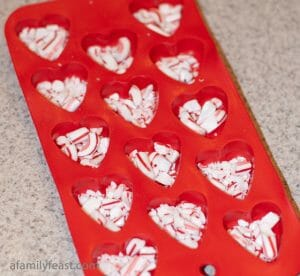 Peppermint Hearts - A simple and easy peppermint and chocolate candy hearts recipe - perfect for Valentine's Day.