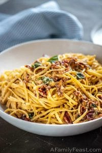 Linguine with Sun Dried Tomatoes and Brie
