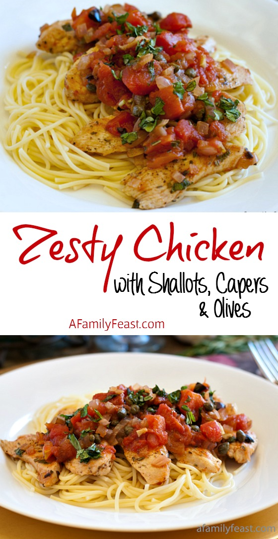 Zesty Chicken with Shallots Capers and Olives - A super delicious dish with fantastic bold flavor! And you'll never believe that this is a Weight Watchers recipe!