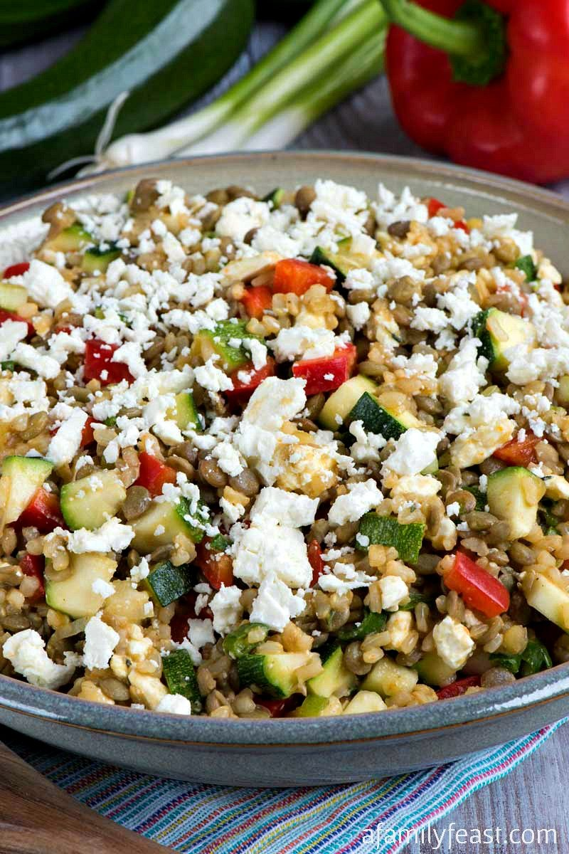 lentils brown rice feta cheese zucchini red peppers