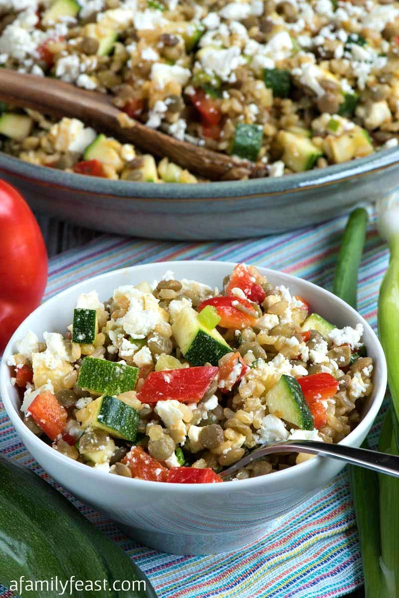 Salad with Lentils Brown Rice and Feta