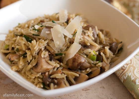 Orzo with Mushrooms, Scallions & Parmesan - A Family Feast