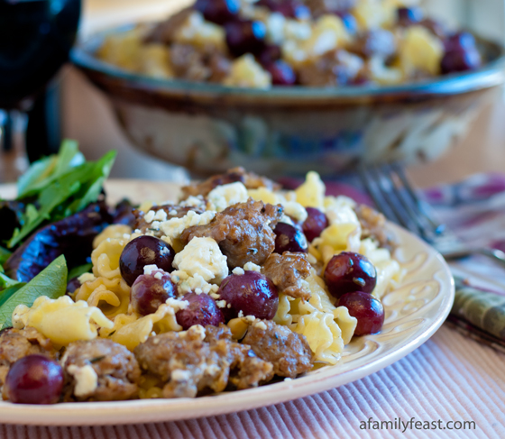 Pasta L'uva with Gorgonzola - A delicious pasta dish with grapes, sweet Italian sausage, and gorgonzola cheese.