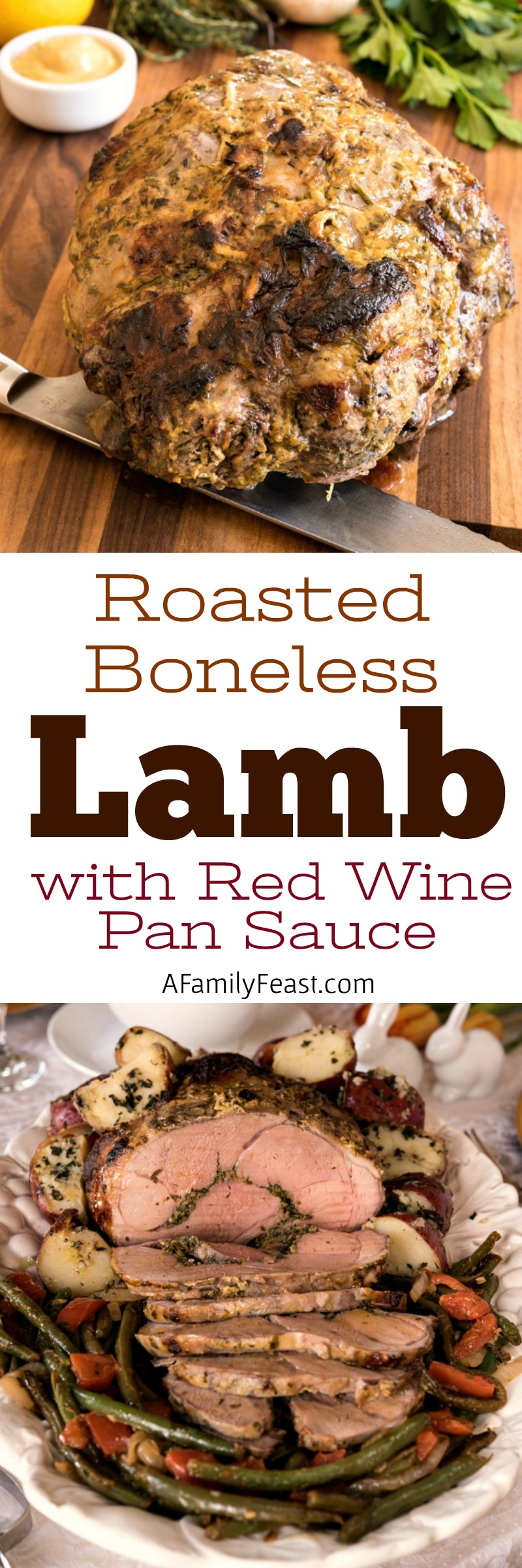 Boneless Roasted Lamb with Red Wine Pan Sauce