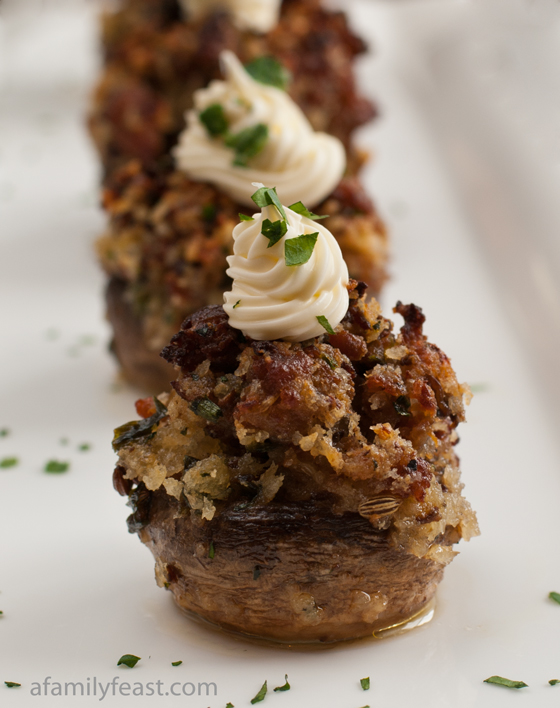 Sausage Stuffed Mushrooms with Mascarpone - A Family Feast