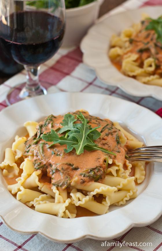 Pasta with Arugula Cream Sauce - A Family Feast