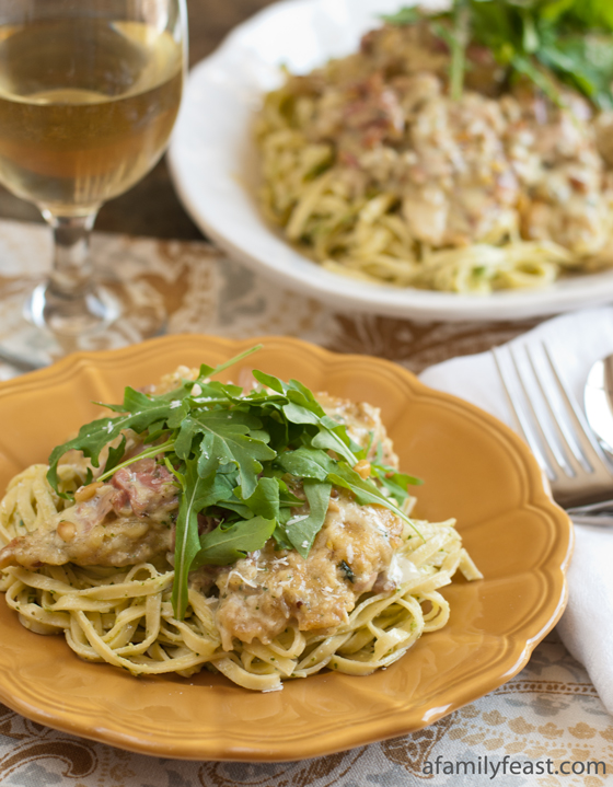 A make-at-home recipe for Chicken Bellagio - based on the popular version from The Cheesecake Factory.