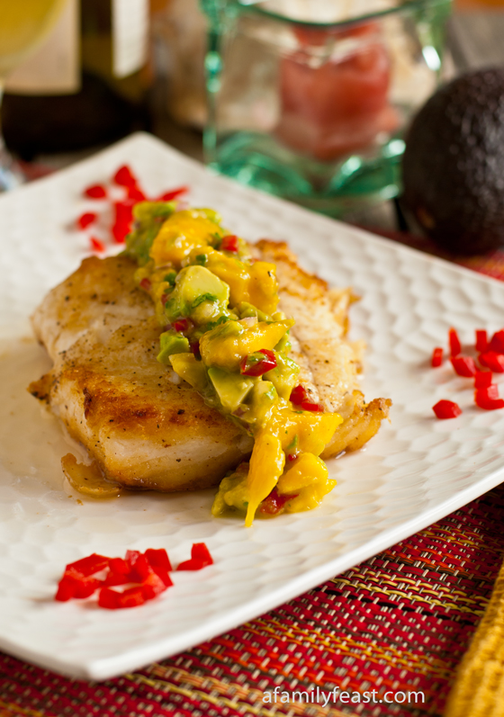Pan Seared Halibut with Mango-Avocado Salsa - A Family Feast