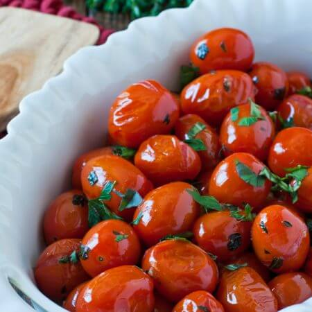 Pan Roasted Tomatoes with Herbs - A Family Feast