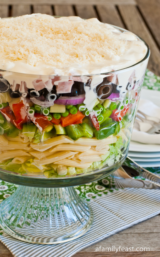 A delicious and versatile recipe for Chopped Salad with Pasta. Perfect for a summertime picnic or day at the beach.