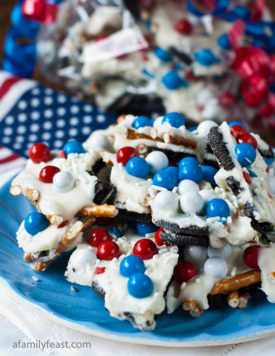 An easy and decadent Chocolate Cookie Candy Pretzel Bark recipe - perfect for a summer party!