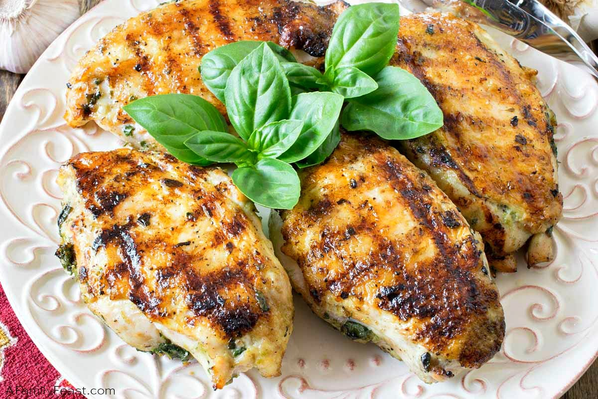 Grilled Basil Garlic Chicken Breasts
