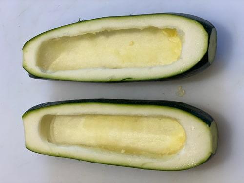 Cut out center of zucchini