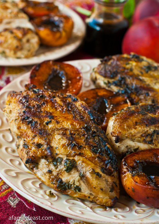 Grilled Basil Garlic Chicken Breasts - a delicious & simple dish perfect for a weeknight summer dinner, but impressive enough for a summer dinner party too!