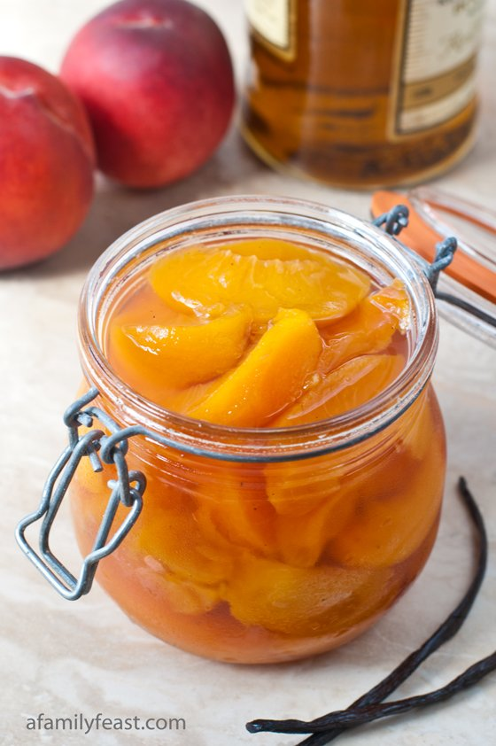 This recipe for Bourbon Poached Peaches is simply amazing! Delicious over ice cream too!