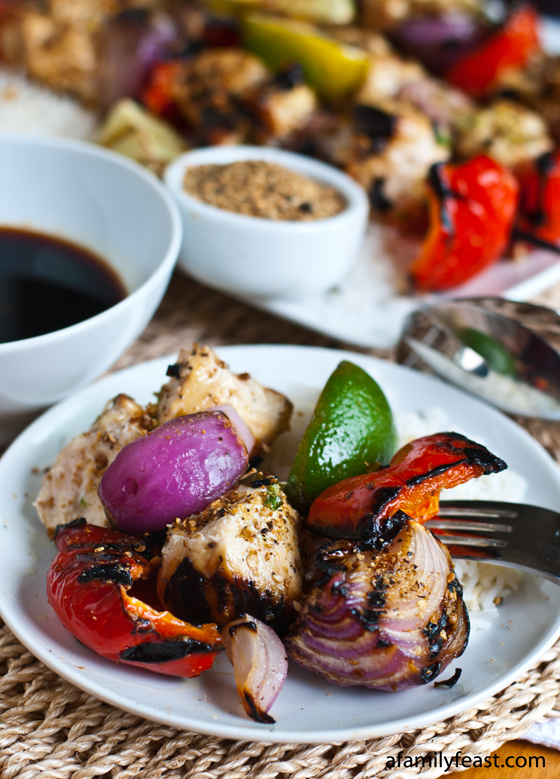 Sesame Chicken Skewers with Sriracha-Soy Dipping Sauce - a great summertime meal with tremendous flavors!