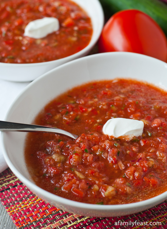 A quintessential summer soup made with tomatoes, cucumber, peppers and onion. This Gazpacho is fresh and fantastic!