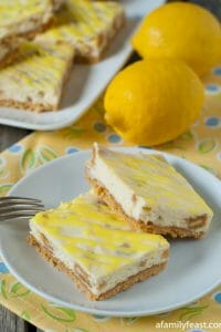 Lemon Oreo Cheesecake Bars - A Family Feast