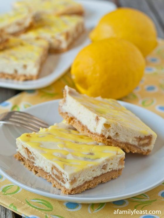 Lemon Oreo Cheesecake Bars - A Family Feast