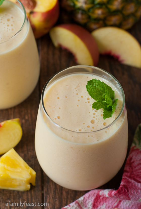 Fresh Pineapple Peach Smoothie - A Family Feast