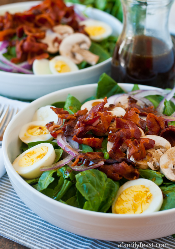 Spinach Salad with Warm Bacon Dressing - A Family Feast