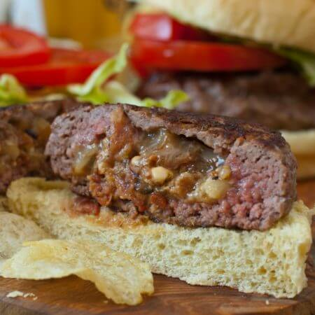 Bacon and Blue Cheese Stuffed Burgers - A Family Feast