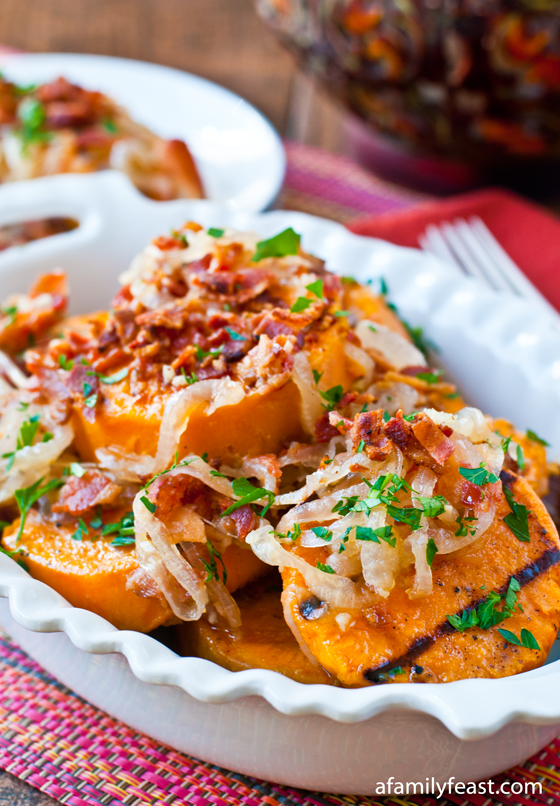 Grilled Sweet Potato Salad with Sweet and Sour Bacon Dressing