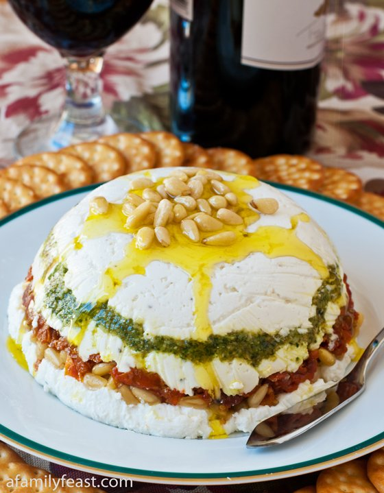 Goat Cheese, Pesto and Sun-Dried Tomato Terrine - A Family Feast